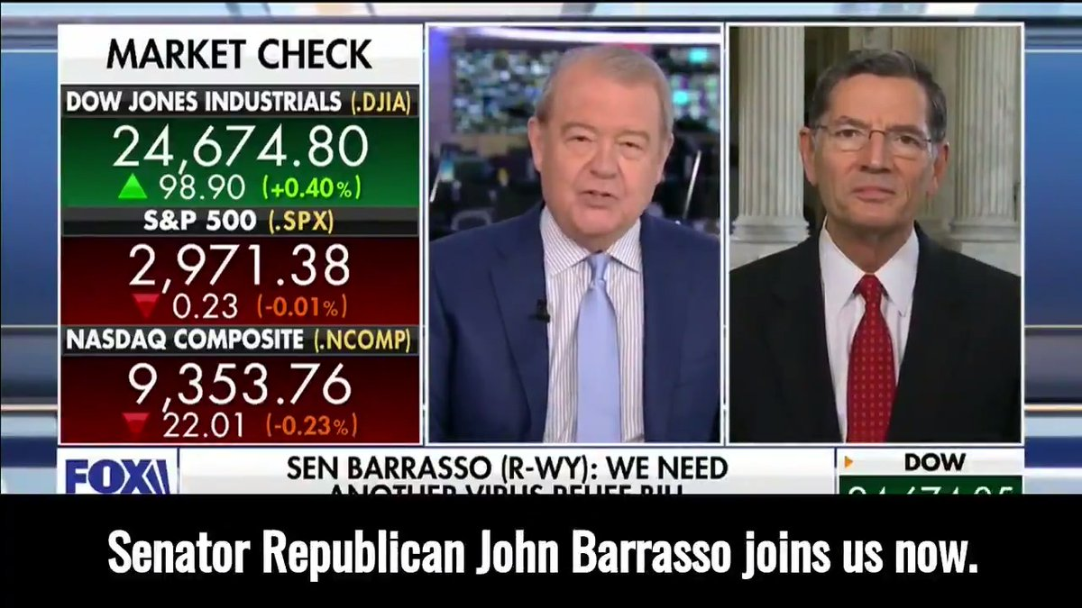 Chairman @SenJohnBarrasso on @VarneyCo:  It's so critically important that we get this country open and back to work.  It is the best thing we can do for the citizens—their economic health, their physical health, and their mental health.