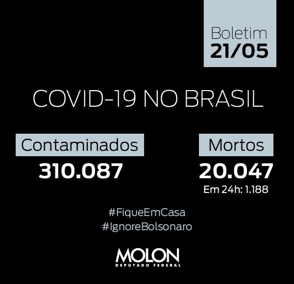 O número de brasileiros mortos pelo coronavírus dobrou de 10 mil para 20 mil em apenas 12 dias. Diante desse ritmo preocupante, ainda temos que ouvir piadas de Bolsonaro. Não dá! #ImpeachmentJá!