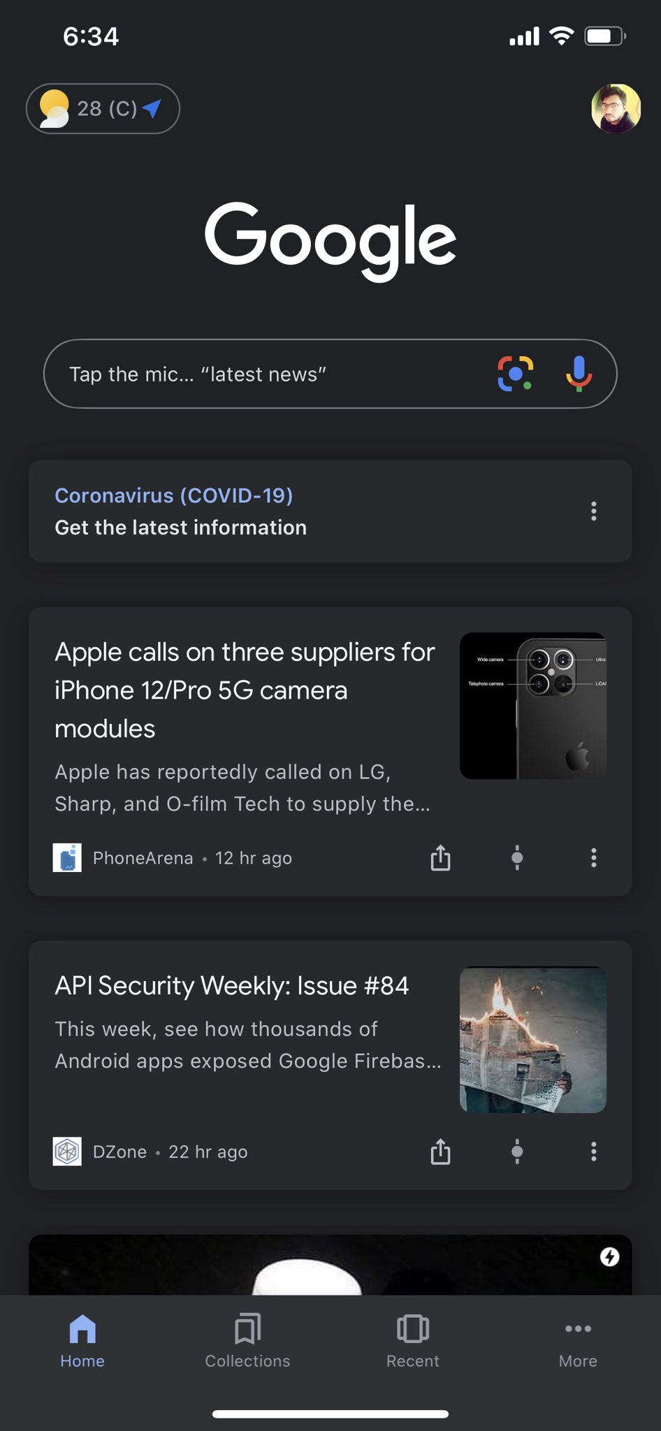 Google Search app for iOS got Dark mode enabled. #apps #iphone #ipad https://t.co/1F5IxgeZoR
