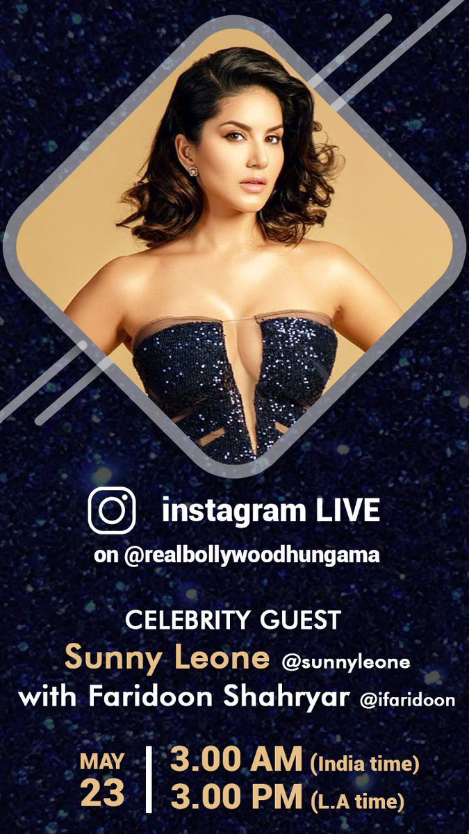 Catch me #LIVE with @iFaridoon & @Bollyhungama on my Instagram tonight!! 3.00 AM - IST 3.00 PM - LA time  #SunnyLeone #bollywoodhungama