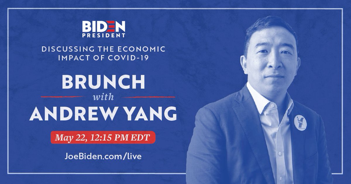 Friday brunch with @AndrewYang? Don't mind if we do!   Join @AndrewYang live at 12:15PM EDT as he discusses the economic impacts of COVID-19: