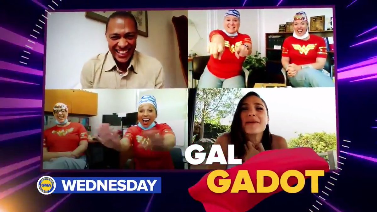 WEDNESDAY: @GalGadot surprises healthcare workers who love to dress up like the superheroes they are! Don't miss the SUPER surprise on @GMA Wednesday!