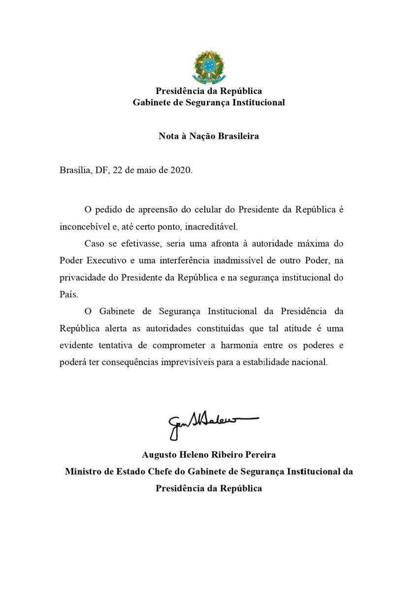 Nota à Nação Brasileira.