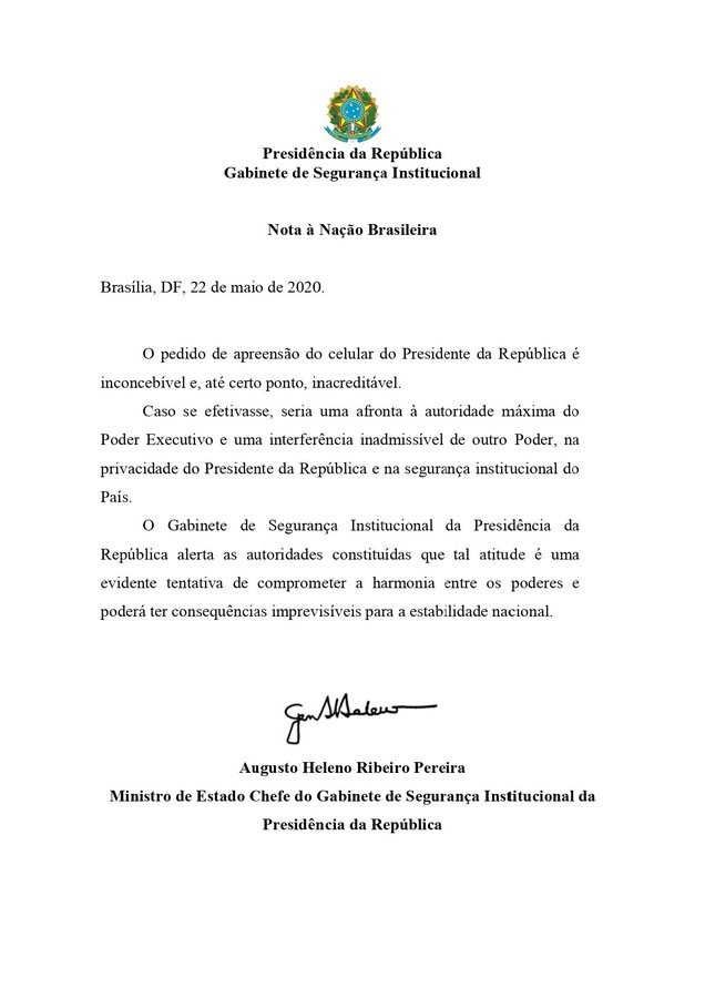 Essa nota do general Heleno é uma ameaça de golpe. Está aí a prova por escrito do que o governo Bolsonaro prepara. Chega de nota de repúdio! O que mais falta para o #ImpeachmentJá?