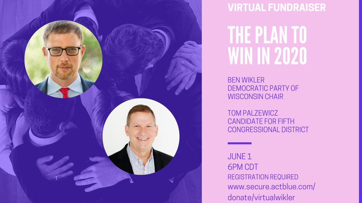 Join Tom and DPW Chair, @benwikler, for a virtual fundraiser!   Learn more about Tom, the state party, and the plan to win in 2020. We need Democrats to win every seat that they can, up and down the ballot.