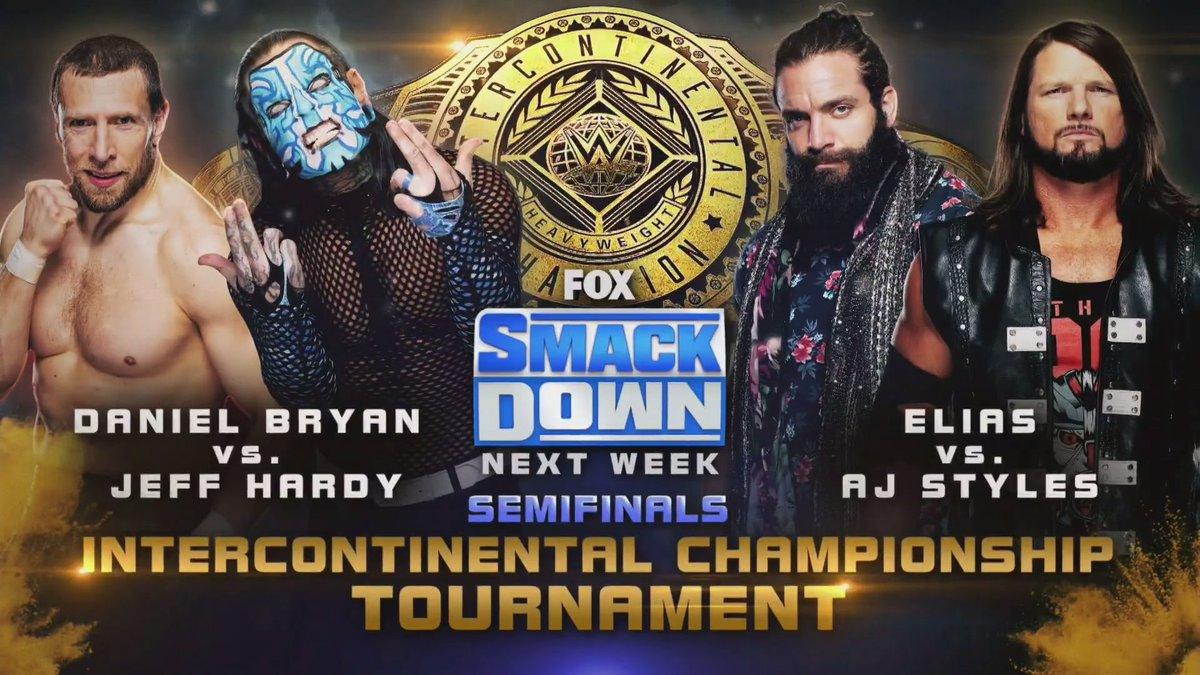 NEXT WEEK on #SmackDown!  #ICTitle @WWEDanielBryan @JEFFHARDYBRAND @IAmEliasWWE @AJStylesOrg