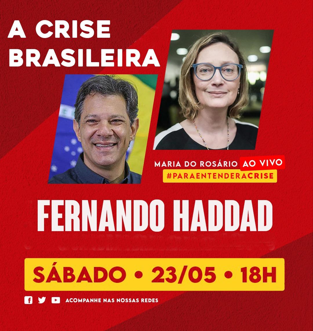 E se tivéssemos um professor como presidente?  HOJE, ao vivo, 18h, estarei com meu amigo @Haddad_Fernando para falar da situação do Brasil.