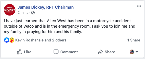 Allen West has been in a motorcycle accident outside of Waco and is in the emergency room.  Please pray