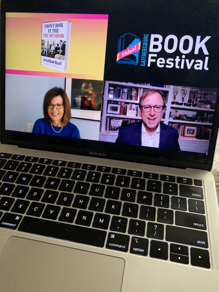 """Kudos to @GburgBookFest for taking its book festival online!    If you're not watching @jonkarl talk with @SusanPage about his book """"Front Row at the Trump Show,"""" you're missing out. It's a smart and unsettling conversation about the state of our national politics."""