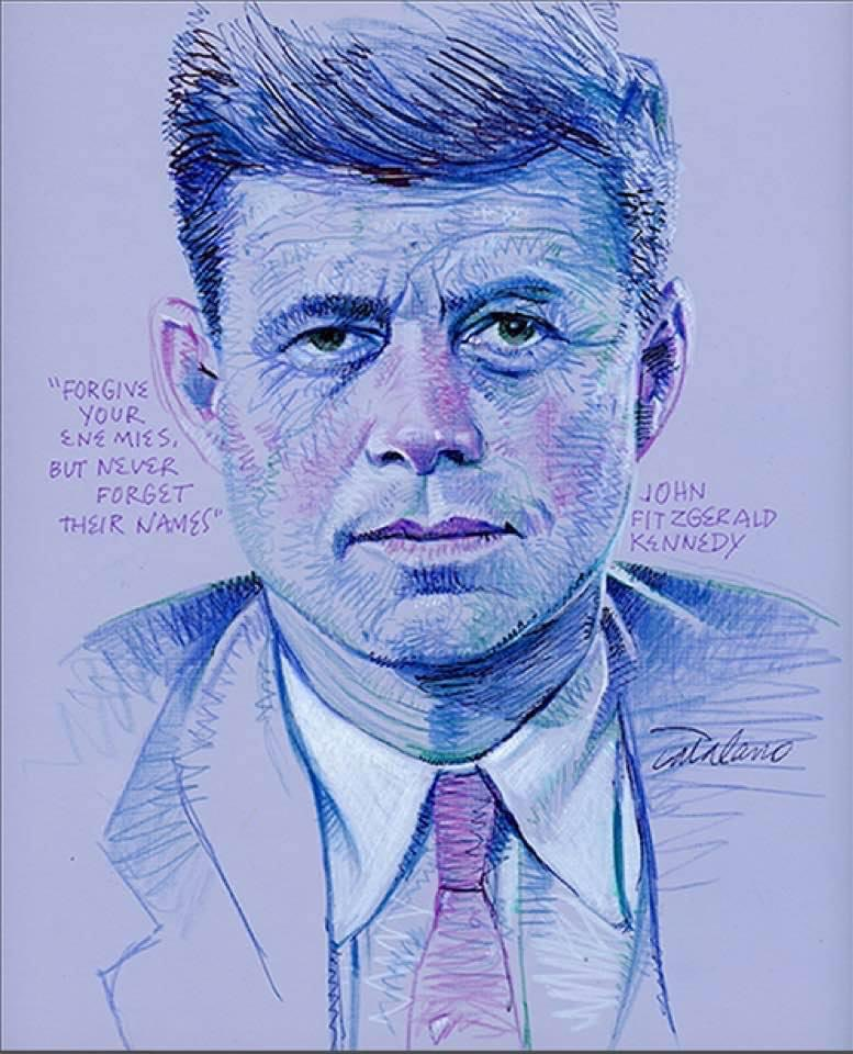 It's timely to post JFK on Memorial Day Weekend.  He served our country well in battle and served it well as president.  Follow @SalCatalano1 for more drawings like this – he'll make your Twitter timeline a lot more enjoyable to look at.