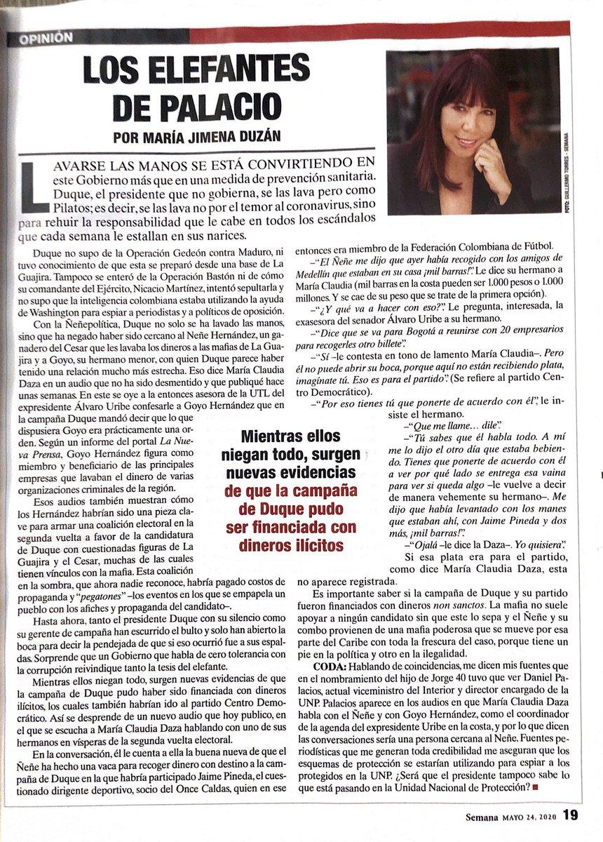 La periodista @MJDuzan revela nuevos detalles sobre cómo el narcotraficante Ñeñe Hernández consiguió ingresar dinero ilícitamente a la campaña de @IvanDuque a través de alias 'Cayita' #LosElefantesDePalacio