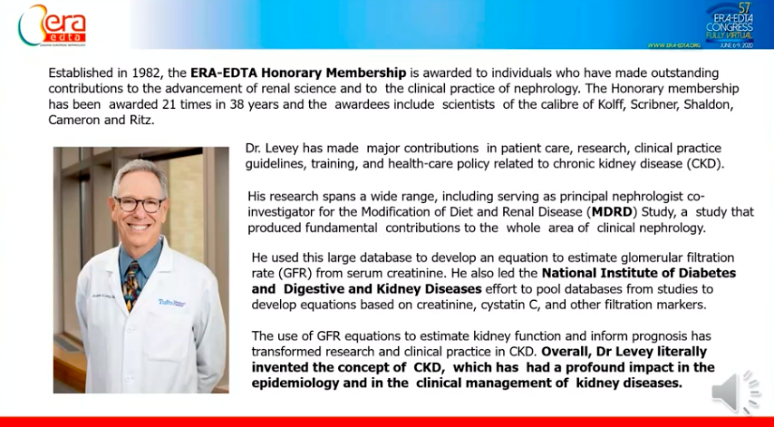 Honorary membership awarded to Professor Andrew Levey  Awarded 21 times in the last 38 years   #eraedta20