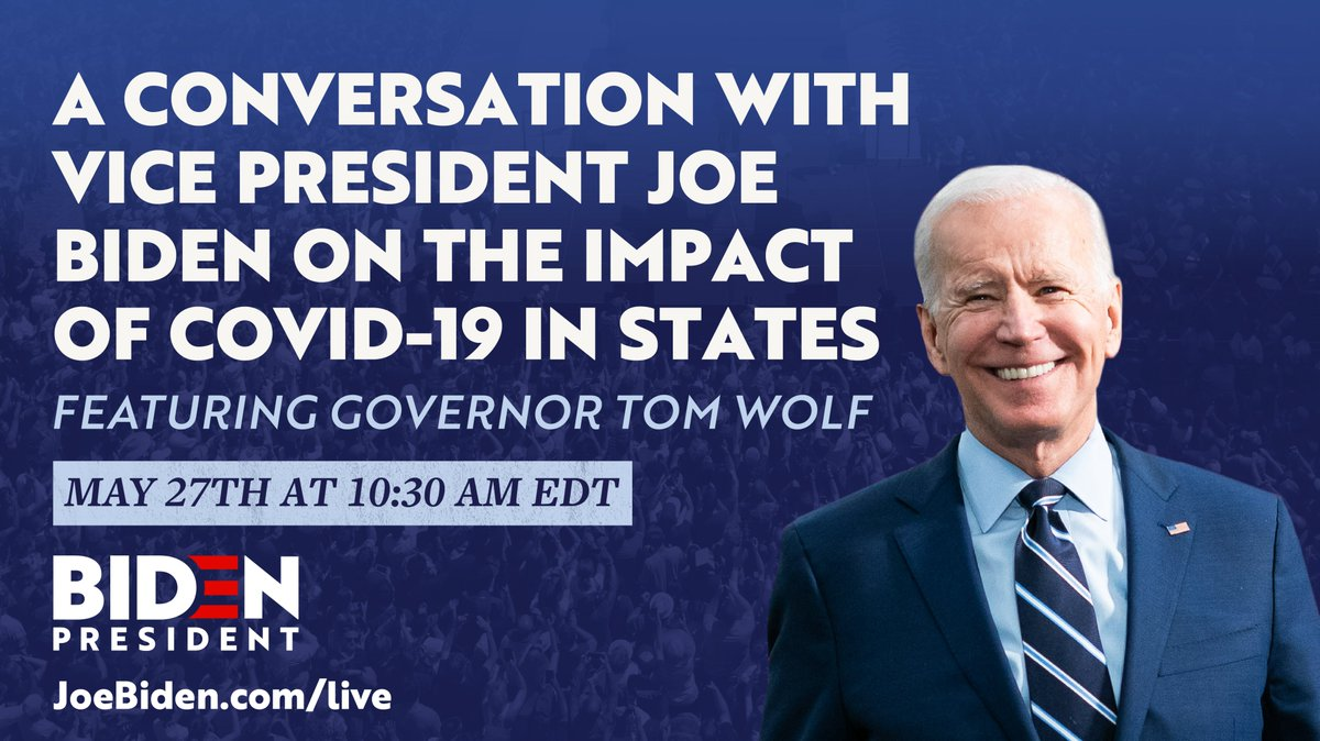 This morning, I'll be joined by @TomWolfPA for a conversation on how COVID-19 is making an impact on states.   Tune in live at 10:30AM EDT:
