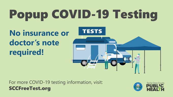 Pop-up #COVID19 testing locations now available! 🔹May 27, 9 am–1 pm, Rengstorff Park Pool Area, 201 S Rengstorff Ave., Mountain View  🔹May 29, 10 am–2 pm, La Placita Tropicana Shopping Center parking lot, 1630 Story Rd, San Jose Testing locations: