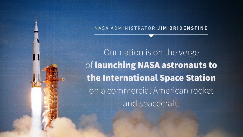 """Today, @NASA is on the verge of a historic mission """"because of our early investments in an emerging space economy in low-Earth orbit, which started with innovative public/private partnerships,"""" Administrator @JimBridenstine writes.  West Wing Reads:"""