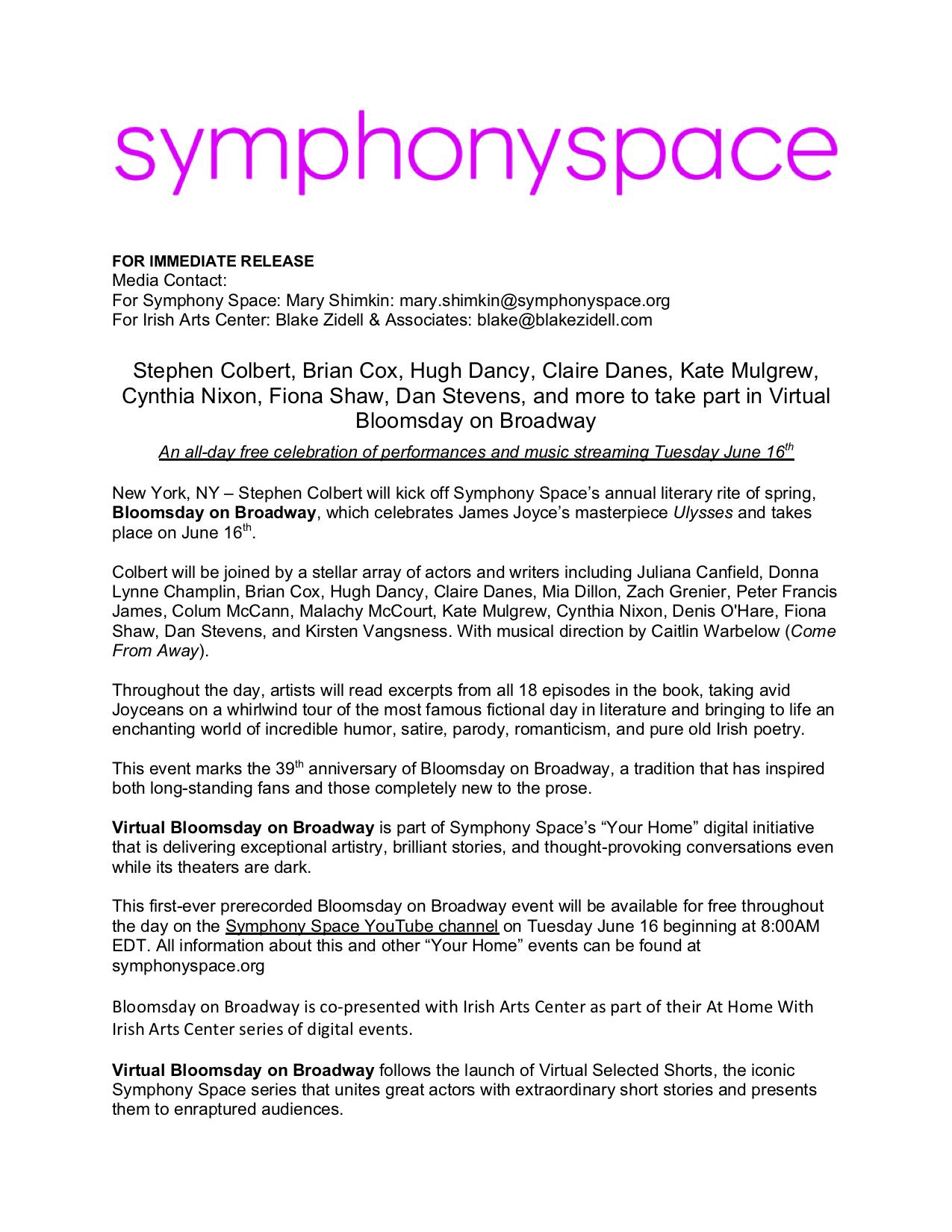 @SymphonySpace's #BloomsdayOnBroadway goes virtual! Readers: @L8ShowColbert @ClaireDanesnl @colummccann1 @FionaShawIGBE #KateMulgrew #BrianCox #HughDancy... #Ulysses excerpts selected by @JoyceSocietyNY's own @jonnysemicolon. @JJ_Gazette @JamesJoyceCentr @JoyceTrieste @JoyceTower https://t.co/KxGZUnC2jb