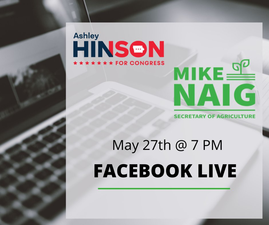 Don't forget to join @hinsonashley and @MikeNaigIA tonight at 7PM CT for a Town Hall on Facebook:  #IA01 #VoteASHLEY