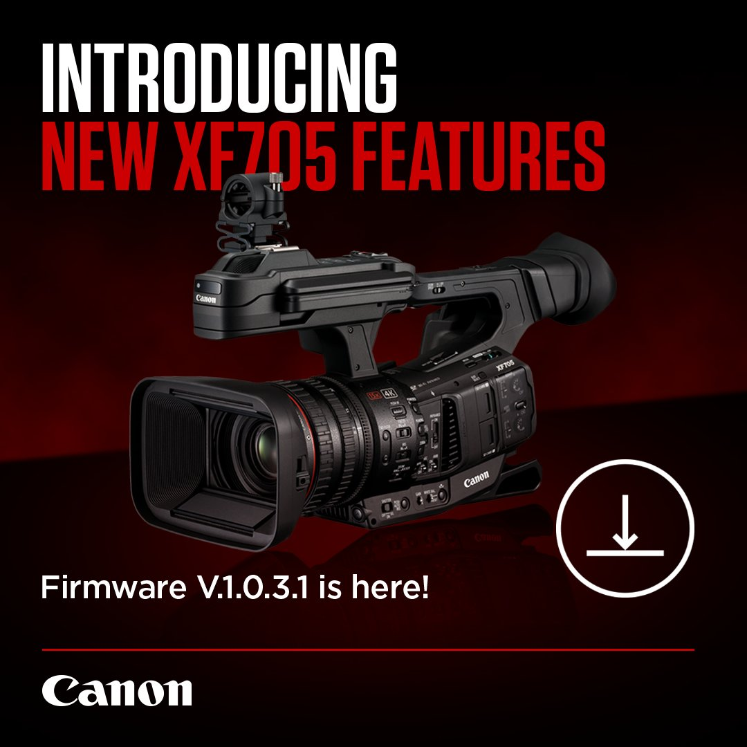 RT @CanonUKandIE: Our #XF705 camcorder just got even better! Firmware update V.1.0.3.1 brings MP4 recording support, further modes added to…