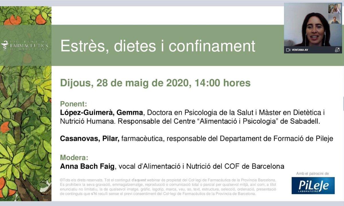 """test Twitter Media - Ja en marxa en format webinar la conferència """"Estrès, dietes i confinament"""", coincidint amb el #DiaMundialNutrició. Hi participen la doctora Gemma López-Guimerà i la farmacèutica Pilar Casanovas, amb la moderació de @Bach_Faig, vocal d'Alimentació i Nutrició del COFB. https://t.co/CrTRrowcVP"""
