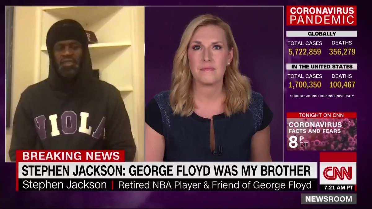 """Stephen Jackson, former NBA player and friend of George Floyd, called Floyd his """"twin.""""  """"This is not the way he was supposed to go. He didn't deserve that, but the way that people are supporting him, standing up for him … his death will not be in vain."""""""