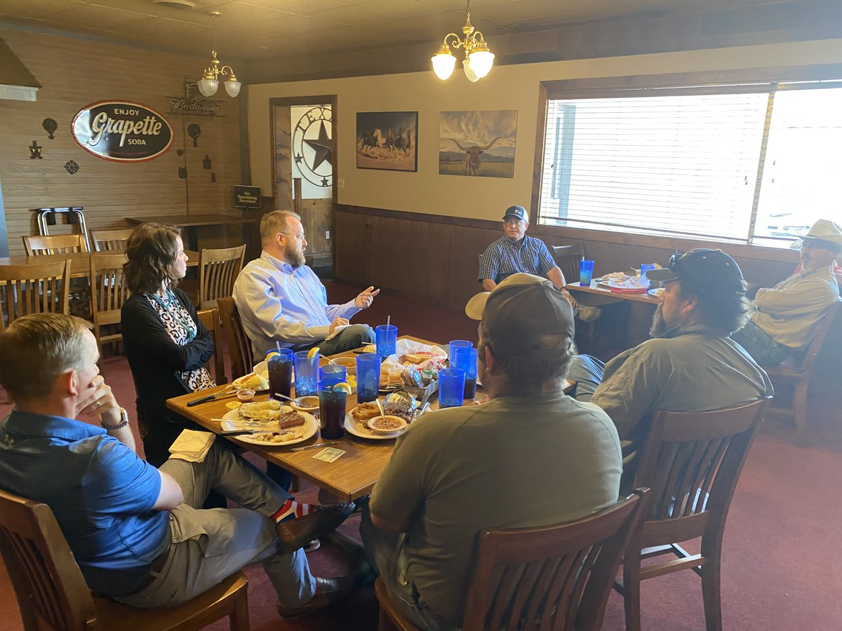 Great catching up and discussing agriculture issues with members of the Gray-Roberts County Farm Bureau Board in Pampa this week.  #TX13