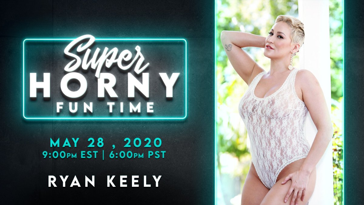 Live tonight! We have the pleasure of welcoming @ryankeely on #AdultTime's episode of Super Horny Fun Time's live show May 28th @ 9:00 EST/ 6:00 PST!  Start your FREE WEEK and come say hello @