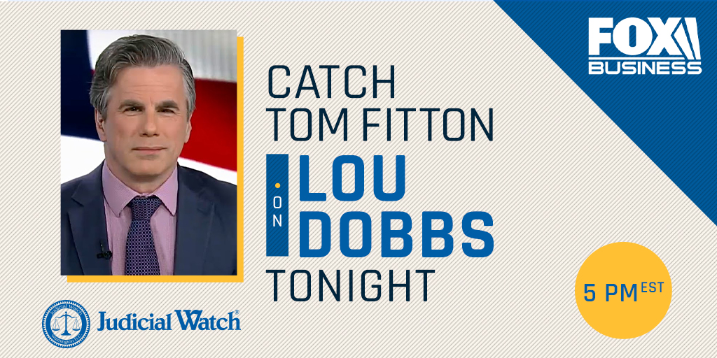 ".@TomFitton will appear on ""Lou Dobbs Tonight"" at 5 pm ET tonight, June 1, to discuss top FBI lawyer Dana Boente reigning; Sen. Johnson stating that 62 leaks threatened national security in the early days of @realDonaldTrump admin to sabotage the presidency; & more!"