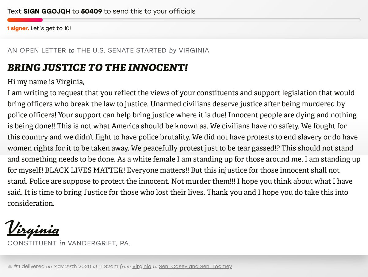 """🖋 Support Virginia by signing """"BRING JUSTICE TO THE INNOCENT!"""" and I'll deliver a copy to your officials:   📨 Last delivered to @SenBobCasey and @SenToomey #PA14 #PApol"""