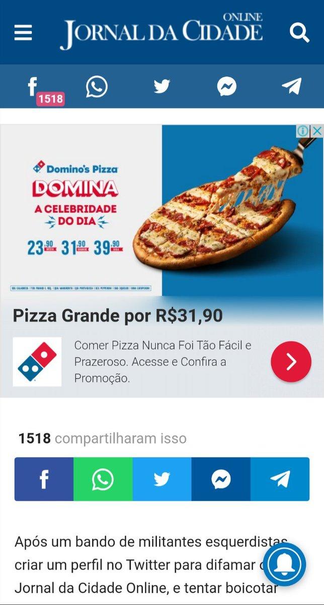 Oi @dominosbrasil, tudo bem? Realmente comer pizza é muito fácil e super prazeroso.🍕😋 Mas sabe o que não é bom? Encontrar o anúncio da sua promoção em um site reconhecido por espalhar notícias falsas. Pfv BLOQUEIEM! ✊🏽 #SleepingGiantsBrasil
