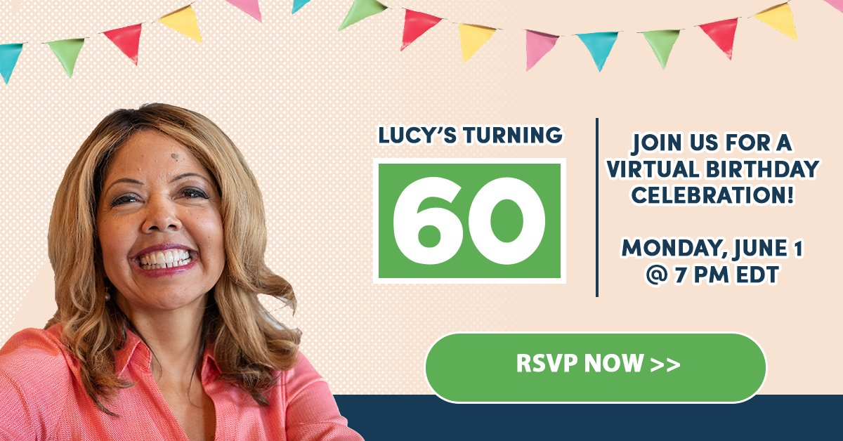 You've been with Lucy as she:  ✅ Flipped #GA06 from 🔴to 🔵 ✅ Fought the NRA ✅ Defended a woman's right to choose  Now we want YOU to join Lucy's 60th birthday celebration! RSVP today: