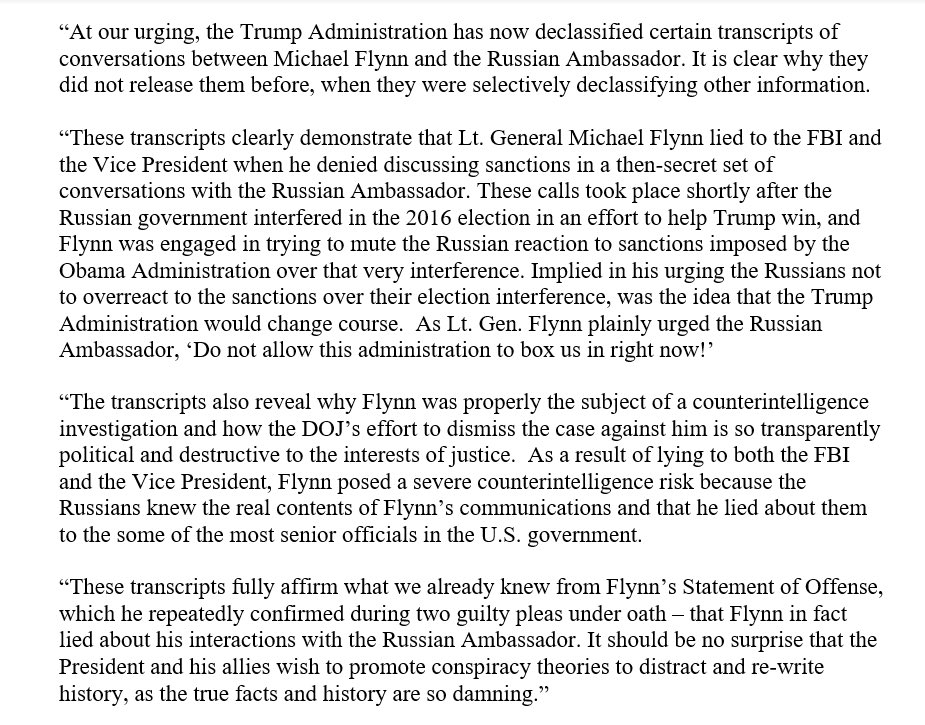 Here's what the Flynn transcripts show:  Gen. Flynn secretly discussed the U.S. response to Russia's brazen election interference, and lied about it to the FBI and Vice President.  No wonder Trump and his allies are trying to re-write history,  Because the facts are so damning.