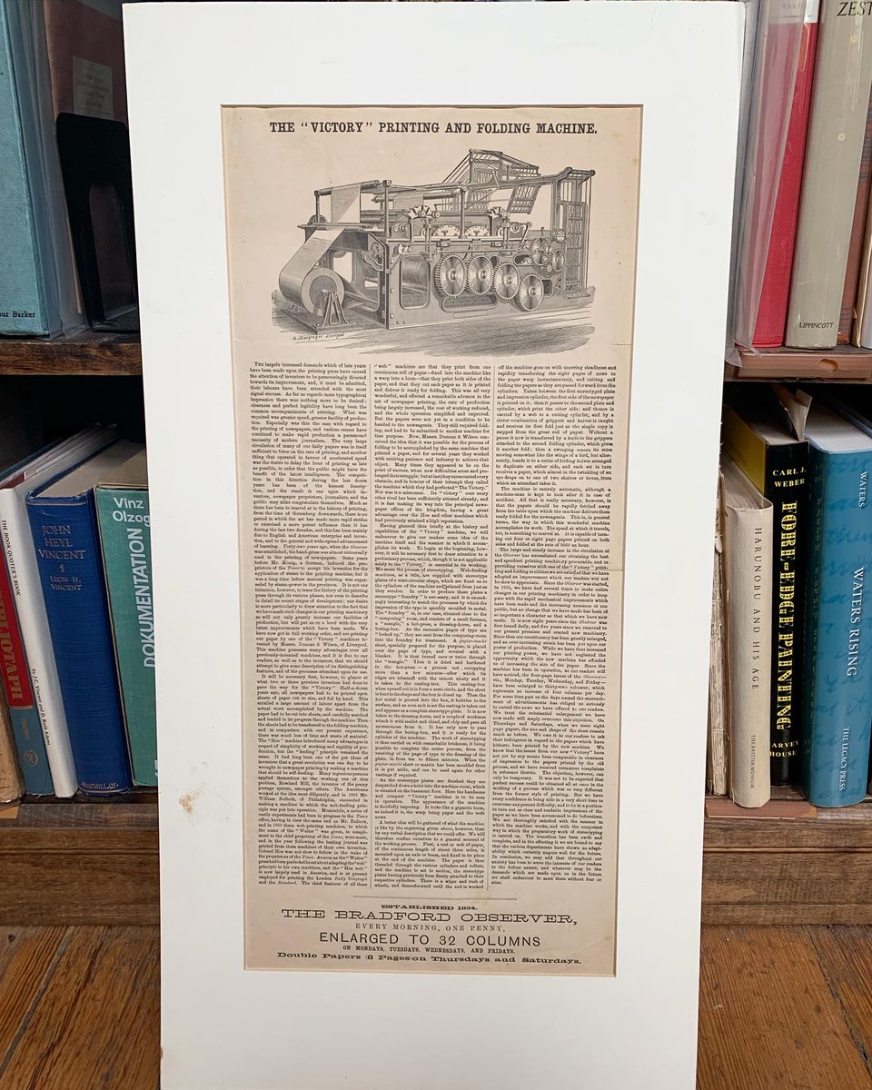 "RT oakknollbooks: For #FeatureFriday, ""The 'Victory' Printing and Folding Machine"" broadside issued by The Bradford Observer in 1876, giving an account of Duncan & Wilson's Victory press.    #oakknollbooks #oakknollpress #booksabo…"