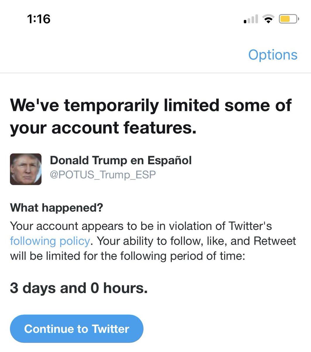 A @Twitter no le gusta que crezca el mensaje de @POTUS_Trump_ESP en #Espanol, necesito que ustedes ayuden siguiendo la cuenta, haciendo retweet y poniéndole ❤️. Lo que haré is tomarle foto a lo que dice @WhiteHouse y @realDonaldTrump #MAGA #KAG