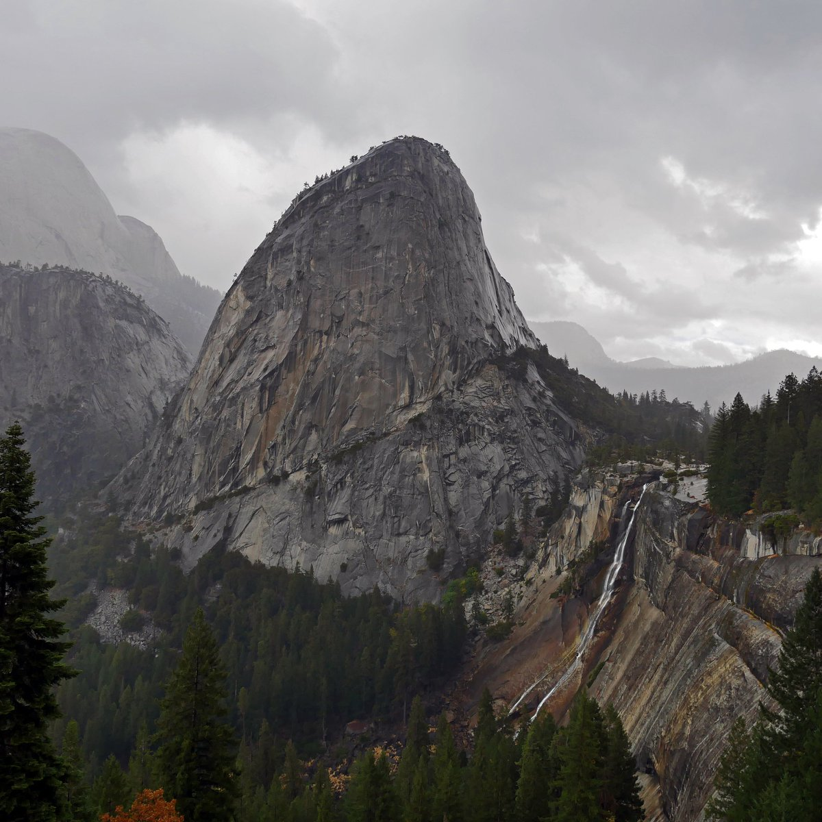 test Twitter Media - TBT Grandeur under stormy skies. On the John Muir trail looking back to Nevada Falls and Liberty Cap. Very quickly taken photograph as it was bucketing down in a sudden squall that caught us all unawares, and scrambling for waterproofs. #yosemite https://t.co/hehpxHy9rc
