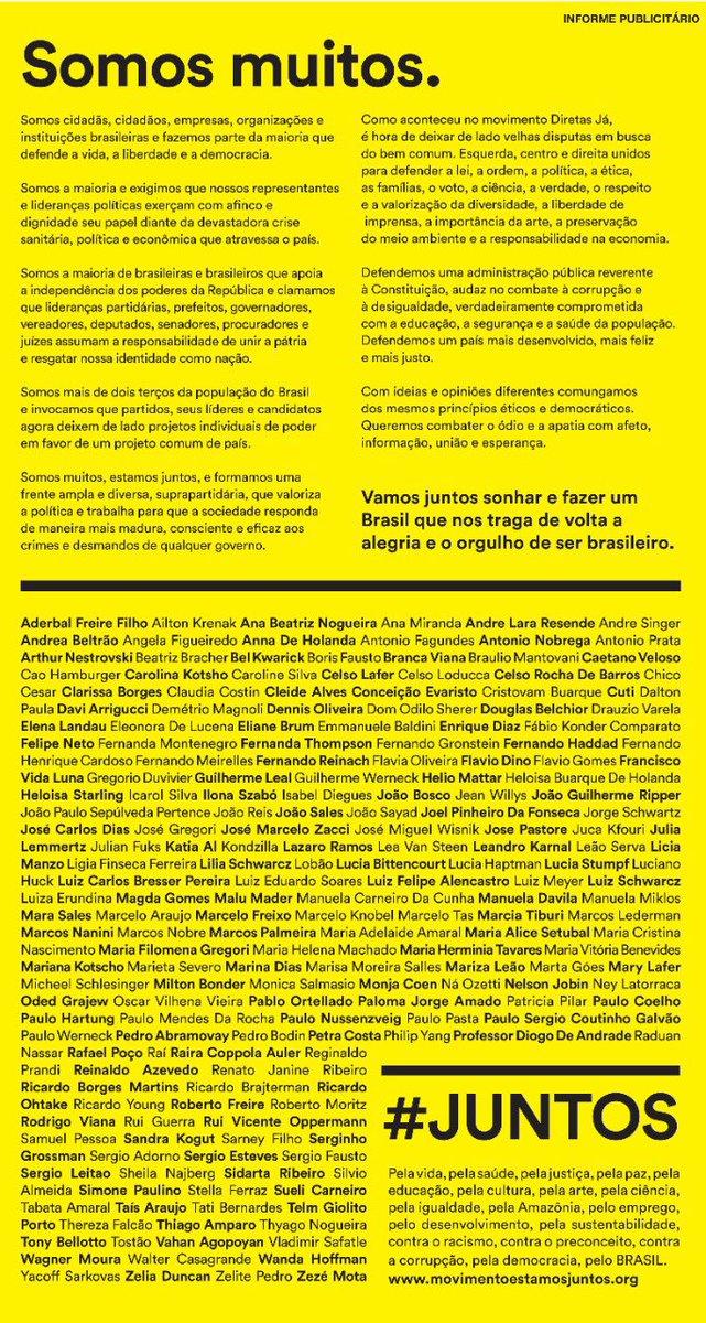 Com muita convicção, sou um dos subscritores desse amplo manifesto em favor da democracia no Brasil
