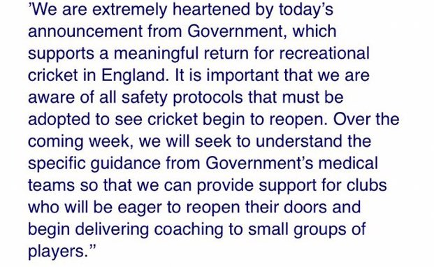 test Twitter Media - After today's latest announcement by the government on larger groups being able excercise together, the ECB has released a statement (pictured).   The government will publish more details on Monday & we'll update you on what this means for cricket just as soon as we know more 🤞🏼 https://t.co/5O2sBkfrN3