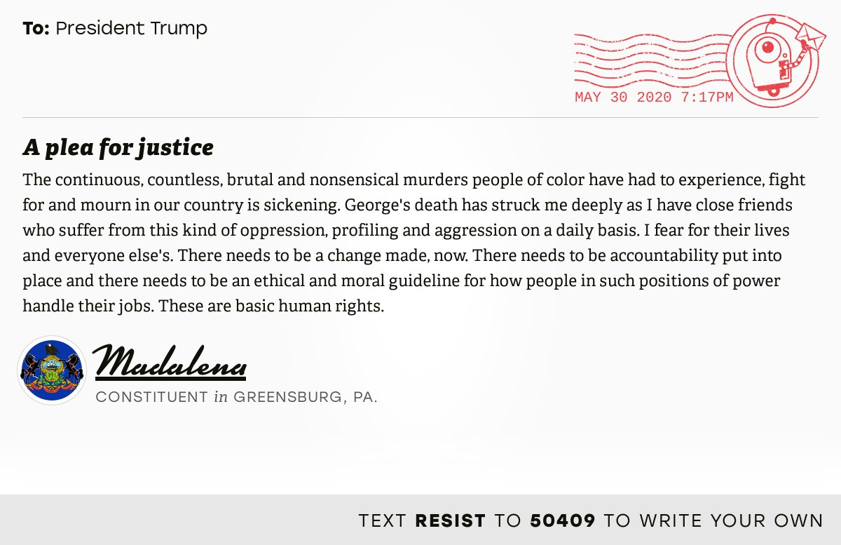 """📬 I delivered """"A plea for justice"""" from Madalena, a constituent in Greensburg, Pa., to @realDonaldTrump #PA14 #PApol  📝 Write your own:"""