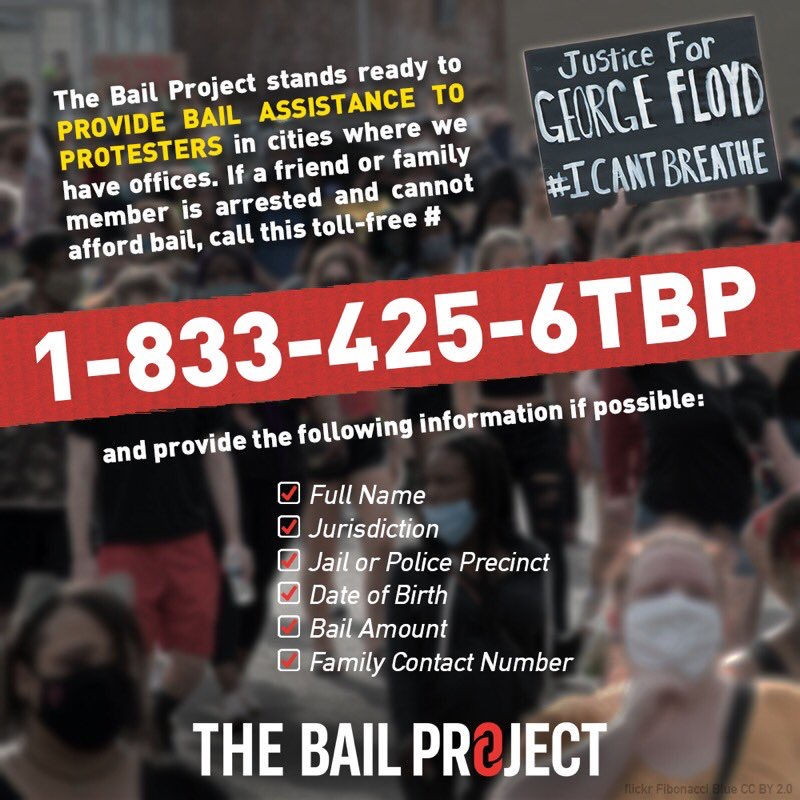 I stand in solidarity with the black community. Peaceful protesters do not deserve to be incarcerated. Please spread the word about @BailProject - a 24/7 emergency hotline providing bail assistance to protestors in select cities.   Stand together. #BlackLivesMatter