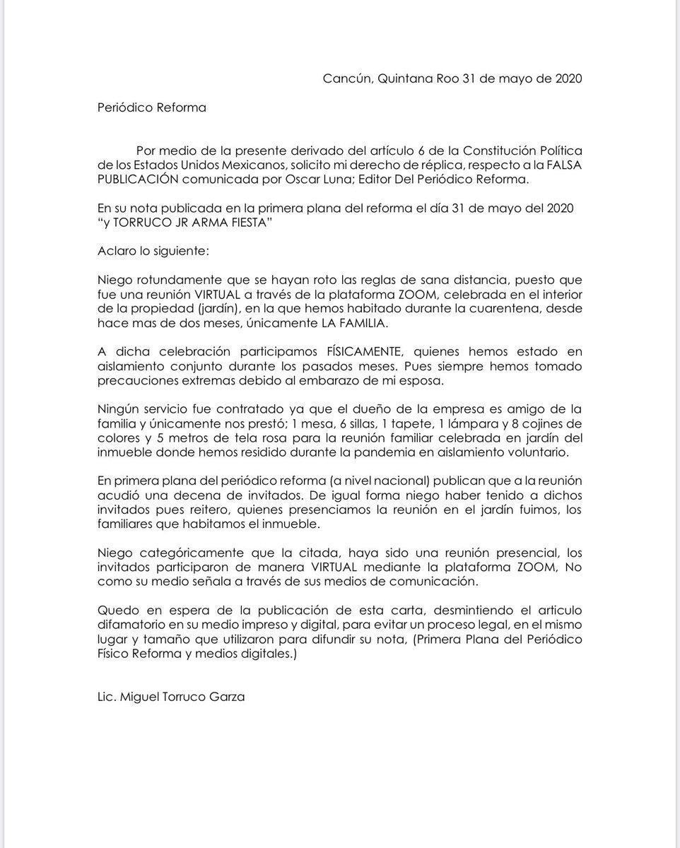 @Reforma @SECTUR_mx Derecho de réplica @reformanacional