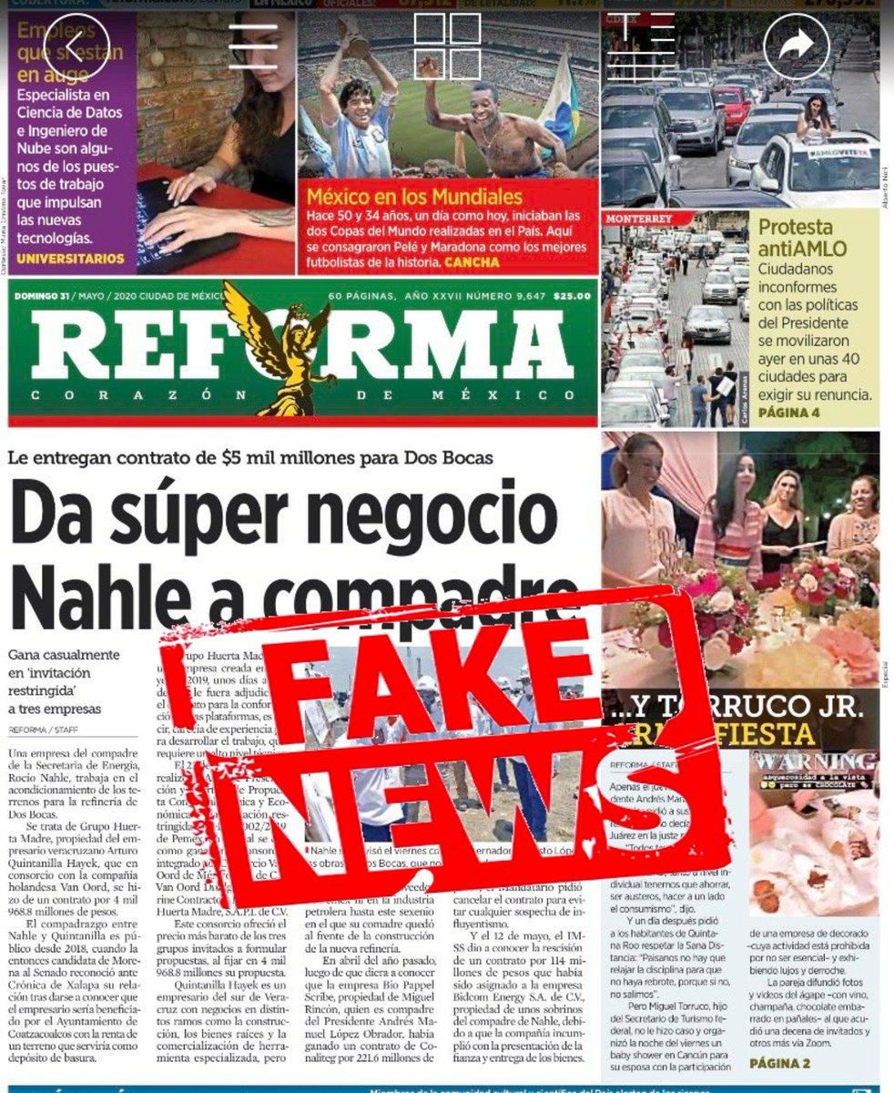 Ya es tiempo de tomar enserio las Fake News legisladores, no confundamos la libertad de expresión, con la libertad de falsear.  Otra vez el @Reforma miente y calumnia a @rocionahle. 👇