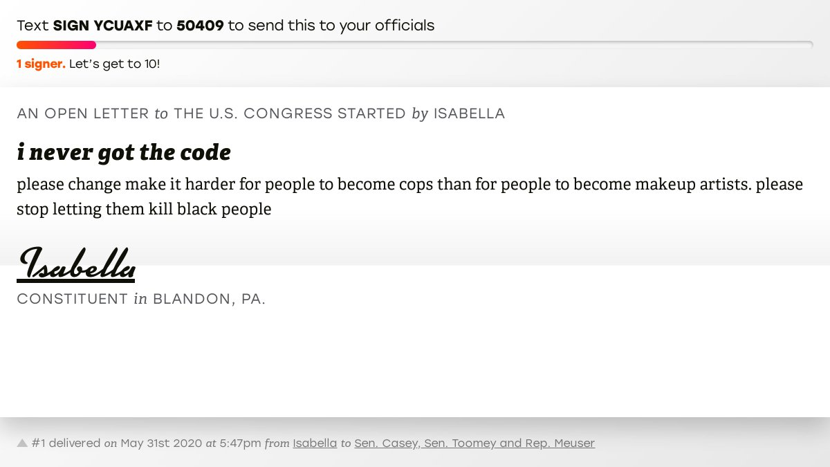 """🖋 Support Isabella by signing """"i never got the code"""" and I'll deliver a copy to your officials:   📨 Last delivered to @SenBobCasey, @SenToomey and @RepMeuser #PA09 #PApol"""
