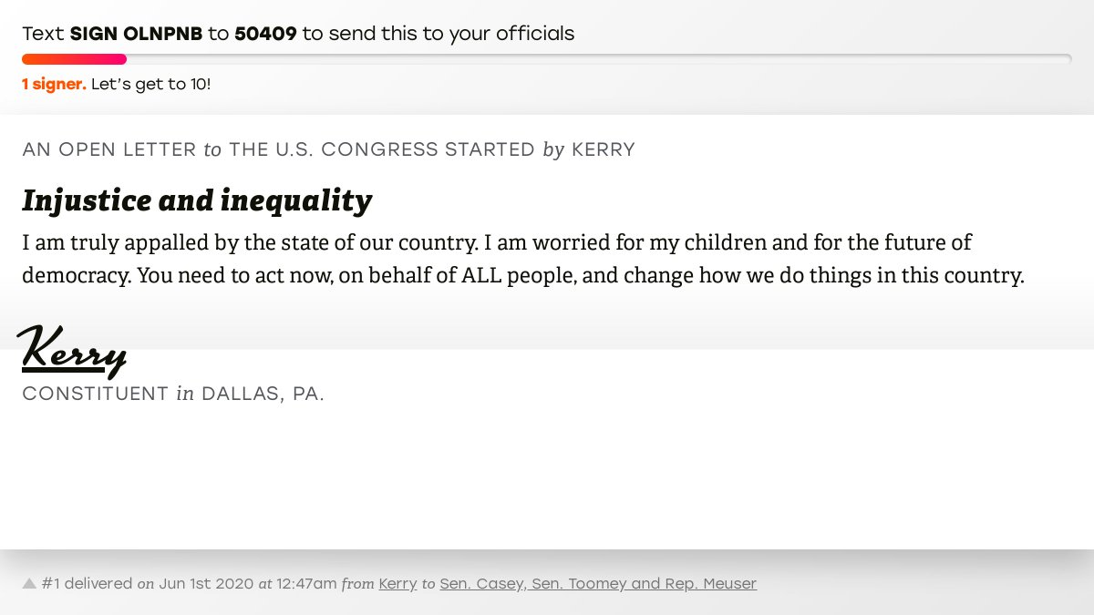 """🖋 Support Kerry by signing """"Injustice and inequality"""" and I'll deliver a copy to your officials:   📨 Last delivered to @SenBobCasey, @SenToomey and @RepMeuser #PA09 #PApol"""