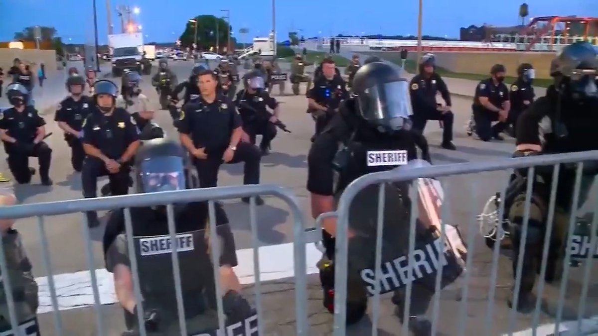 POWERFUL: Des Moines law enforcement kneels with #GeorgeFloyd protesters.