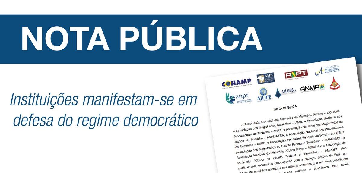 NOTA PÚBLICA - A @AJUFE_oficial, @Conamp, @magistradosbr, @ANPTBRASIL, @Anamatra, @ANPR_Brasil,@Amagis_DF, ANMPM e a AMPDFT manifestam-se em defesa do regime democrático. Leia a nota na íntegra: