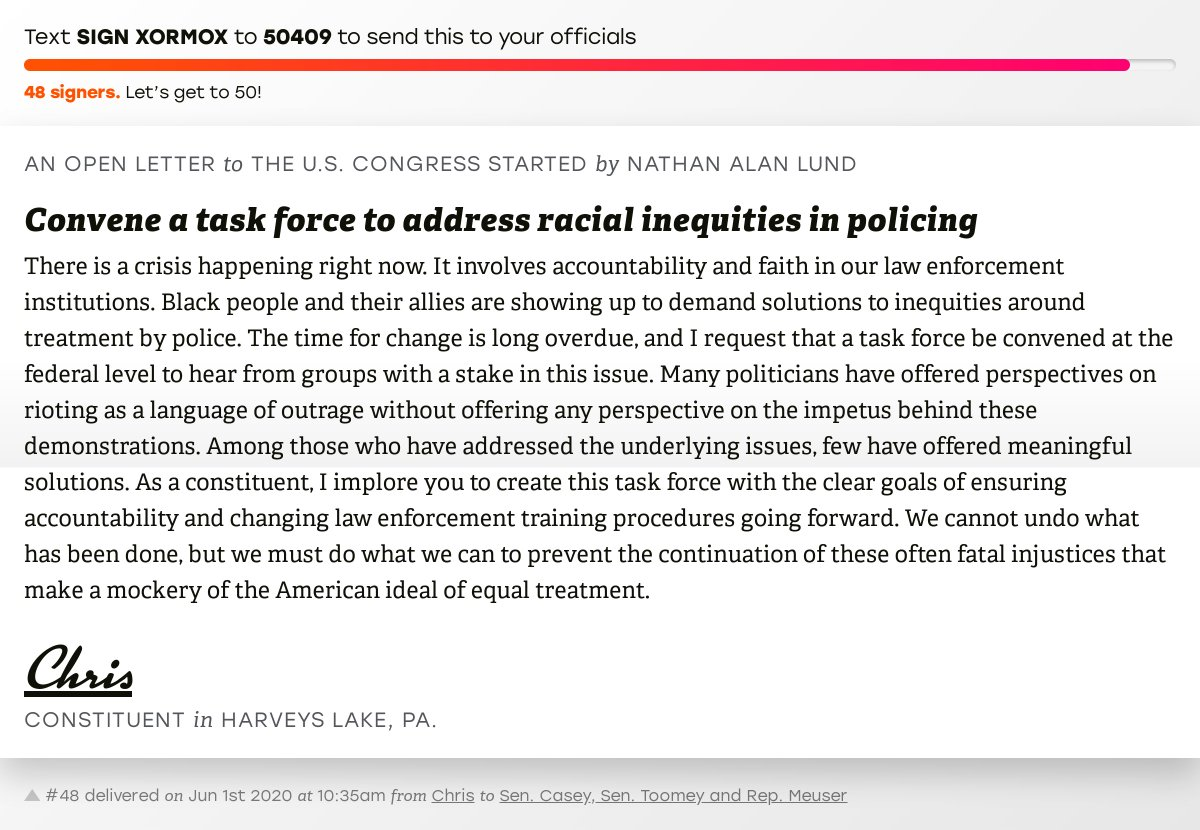 """🖋 Support Chris by signing """"Convene a task force to address racial inequities in policing"""" and I'll deliver a copy to your officials:   📨 Last delivered to @SenBobCasey, @SenToomey and @RepMeuser #PA09 #PApol"""