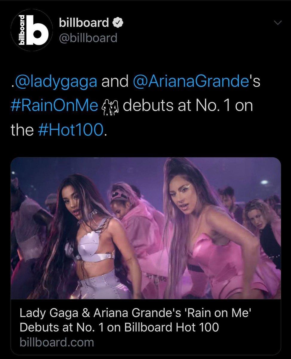 test ツイッターメディア - (再)今週の米ビルボード #HOT100 にレディー・ガガ&アリアナ・グランデの「レイン・オン・ミー」が1位で初登場🥳 1位獲得はガガにとって5度目、初登場1位はアリアナにとって4度目となります。 おめでとう🍾✨  👉 https://t.co/T5Nco1Sgbf #レディーガガ #アリアナグランデ #RainOnMe https://t.co/YRRatvJUnu