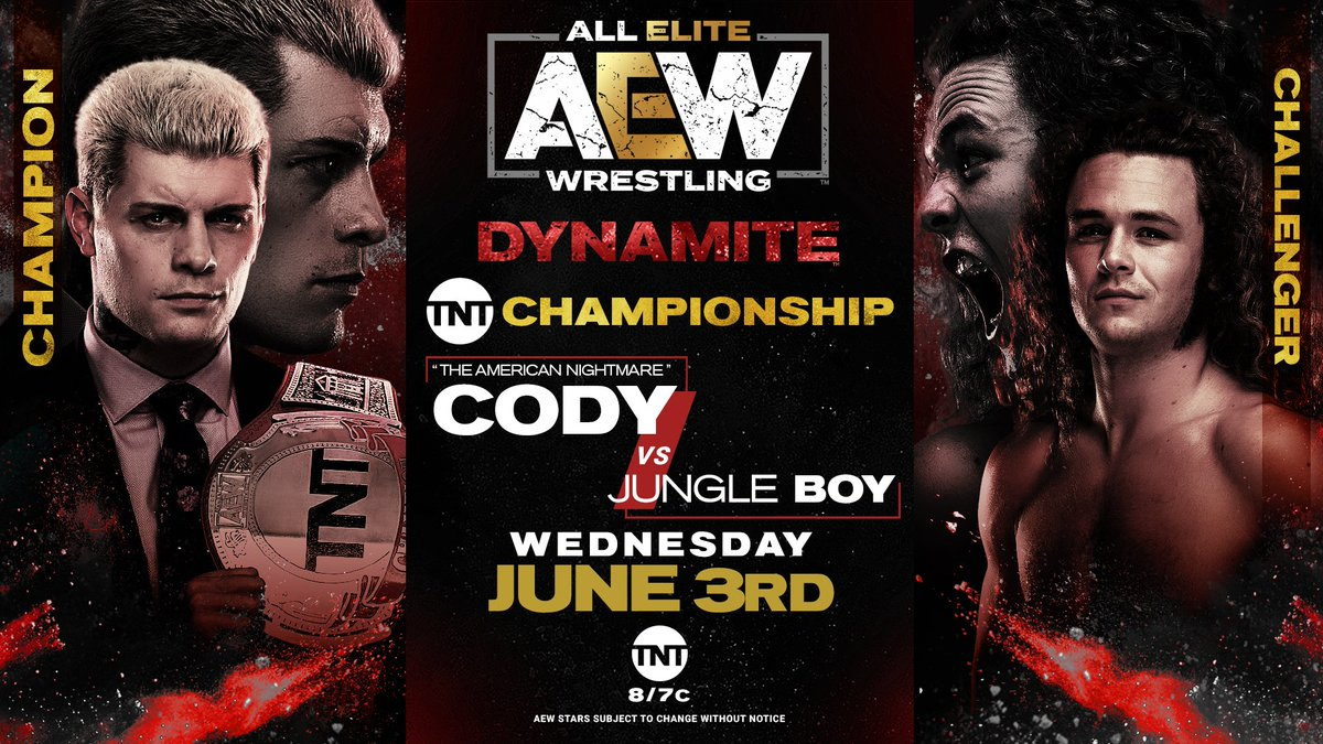 It's almost time! @boy_myth_legend is the first athlete to challenge the #AmericanNightmare @CodyRhodes for the #AEW #TNTChampionship!  Watch #AEWDynamite every Wednesday night on @TNTDrama 8e/7c or  for our International fans. @AEWonTNT