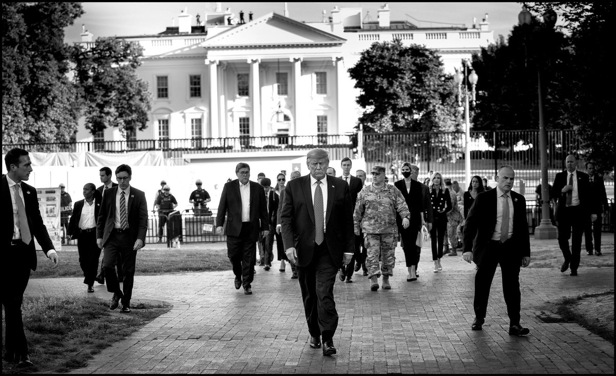This evening President Trump walked from the White House to the Historic St. John's Church that was damaged during overnight violence. #GeorgeFloydProtests #StJohnsChurch #POTUS