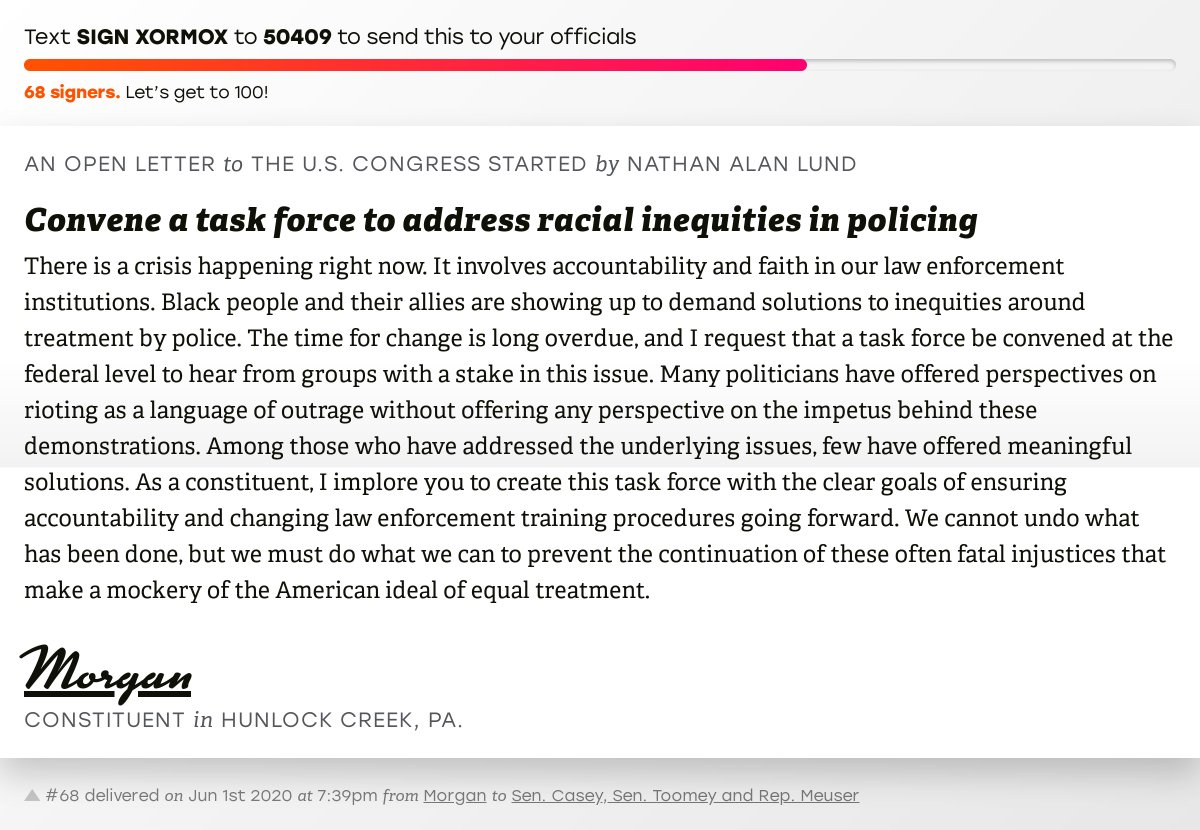 """🖋 Sign """"Convene a task force to address racial inequities in policing"""" and I'll deliver a copy to your officials:   📨 Last delivered from Morgan to @SenBobCasey, @SenToomey and @RepMeuser #PA09 #PApol"""