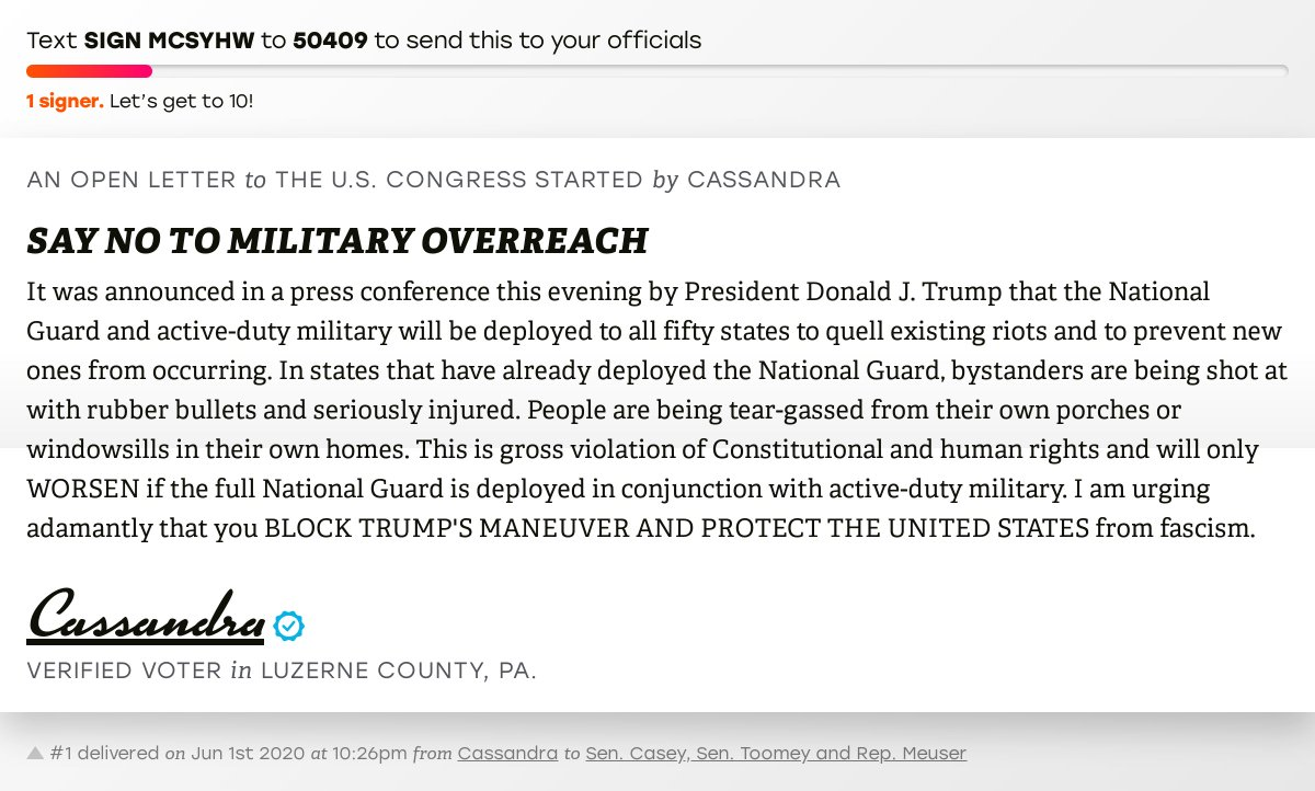 """🖋 Sign """"SAY NO TO MILITARY OVERREACH"""" and I'll deliver a copy to your officials:   📨 Last delivered from Cassandra to @SenBobCasey, @SenToomey and @RepMeuser #PA09 #PApol"""